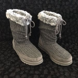 Skechers Womens Slouch Fur Top Sweater Boots Grey